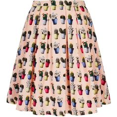 Yumi Cactus Print Skater Skirt ($65) ❤ liked on Polyvore featuring skirts, clearance, pink, high-waist skirt, flared midi skirt, high-waisted skirts, flared skirt and high waisted skater skirt