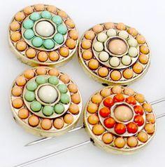 4 gold cz 2 hole slider beads 11245 - Mobile Boutique