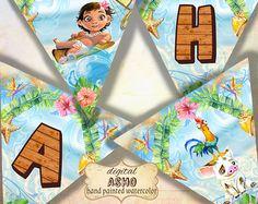 Moana Banner Moana Party Banner Moana Printable por LythiumArt