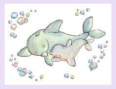 Children Art Print. My Baby Collection- My Baby Dolphin. PRINT 8X10. Nursery Art Home Decor