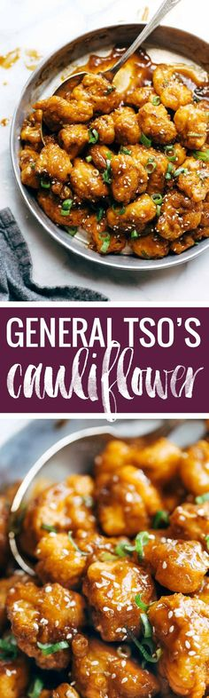 General Tso's Cauliflower - golden brown crispy fried cauliflower tossed in a made-from-scratch spicy sweet sauce. Awesome vegetarian / meatless recipe.   http://pinchofyum.com