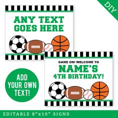 Paper goods and DIY printables for parties and holidays Ball Birthday, 4th Birthday, Sports Signs, Star Party, Sports Party, Paper Goods, All Star, Printables, Make It Yourself