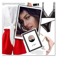 """""""How to Style a White Linen Top with Red Shorts, Pink Heels and Sexy Black Underpinnings"""" by outfitsfortravel ❤ liked on Polyvore featuring Fendi, Fleur du Mal, Gucci, Bobbi Brown Cosmetics and Americanflat"""