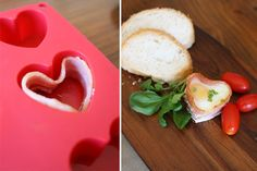 Valentine's Day breakfast with love   Bacon and eggs made in a heart-shaped muffin pan