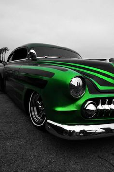 Buick with wicked green stripes Rat Rods, Ford, Royce, Jaguar, Lead Sled, Hot Rides, Us Cars, Love Car, Car Painting