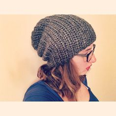 Two Stitch Slouchy Beanie by pesquallie on Etsy