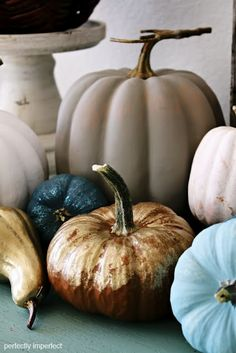 Lightly painted pumpkins in neutrals and blues. Gorgeous. Chalk paint may have been used but looks to be a very thinned down version.