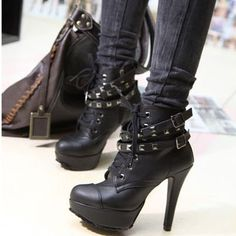 Studed Platform Buckles High Heels Lace UPS Ladies Ankle Boots New Gothic | eBay