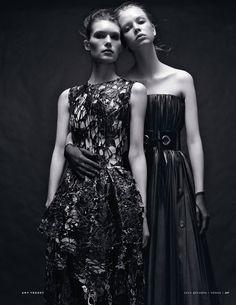 Vogue Russia December 2014 | Dani Witt & Katherine Mackel by Amy Troost John Rocha & Lanvin