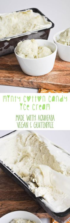 Vegan Minty Cotton Candy Ice Cream Recipe (made with aquafaba) Bon Dessert, Low Carb Dessert, Vegan Dessert Recipes, Delicious Vegan Recipes, Dairy Free Recipes, Raw Food Recipes, Gluten Free, Cotton Candy Ice Cream Recipe, Ice Cream Candy