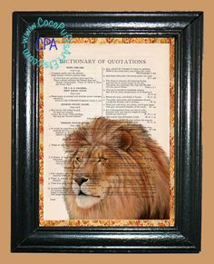 African Male Tawny Lion - - Vintage Dictionary Book Page Art-Upcycled Page Art,Wall Art,Collage Art, Lion Print by CocoPuffsArt on Etsy