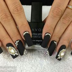 from - q unha é essa - Glam Nails, Bling Nails, Nail Manicure, Beauty Nails, Nails Only, Love Nails, Perfect Nails, Gorgeous Nails, Diamond Nails