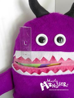 Cuddle Monster Pillow ZONK zipper mouth ooak by MostlyMonstersCV, $27.95