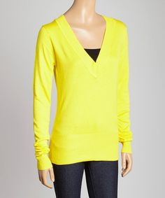 Yellow V-Neck Sweater by India Boutique #zulily #zulilyfinds