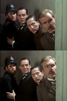 Sherlock Holmes, Doctor Watson, Lestrade and one of Lestrade's policemen - the Norwood Builder.   Look at that smug look Holmes has on his face in the lower picture while everyone else is just confused.