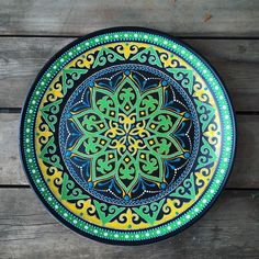 Dot Art Painting, Ceramic Painting, Acrylic Painting Canvas, Mandala Art, Ceramic Plates, Decorative Plates, Pottery Painting Designs, Tile Crafts, Plate Art