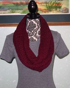 A personal favorite from my Etsy shop https://www.etsy.com/listing/266246464/burgendy-infinity-scarf