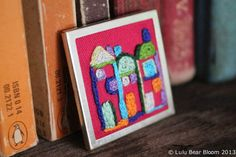 Hand Embroidered Tiny Terraced Houses Brooch Pin by LULUBEARBLOOM, $34.00
