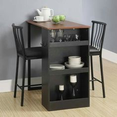 Found it at Wayfair - 3 Piece Counter Height Pub Table Set (Dorel Living 3 pc pub tbl set) Small Dining, Small Space Living, Dining Area, Dining Rooms, Small Tables, Small Space Dining Set, Round Dining, Dining Furniture, Home Furniture