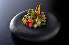 Raw and cooked vegetables, at the Bulgari Restaurant in Tokyo.