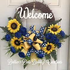 Blue & Yellow Welcome Sunflower Grapevine Wreath, Welcome Wreath, Sunflower Wreath, Summer Wreath Summer Door Wreaths, Christmas Mesh Wreaths, Thanksgiving Wreaths, Holiday Wreaths, Beach Wreaths, Winter Wreaths, Spring Wreaths, Wreath Crafts, Diy Wreath