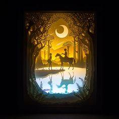 Kingneonlux Light Shadow Papier geschnitzt Lights Dream B - Papier Kunst Ideen Shadow Box Kunst, Shadow Box Art, 3d Paper Art, Paper Crafts, Diy Crafts, Instalation Art, Photo Deco, Diy Art Projects, Paper Cutting