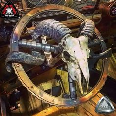 Amazing custom steering wheel with Camshaft sections and a Ram skull