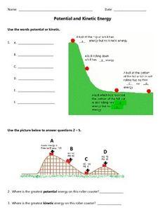 Potential or Kinetic Energy Worksheet   Gr8   Pinterest   Kinetic ...