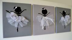 Dancing Ballerinas Wall Art. Set of three dancing by FlorasShop, $42.00
