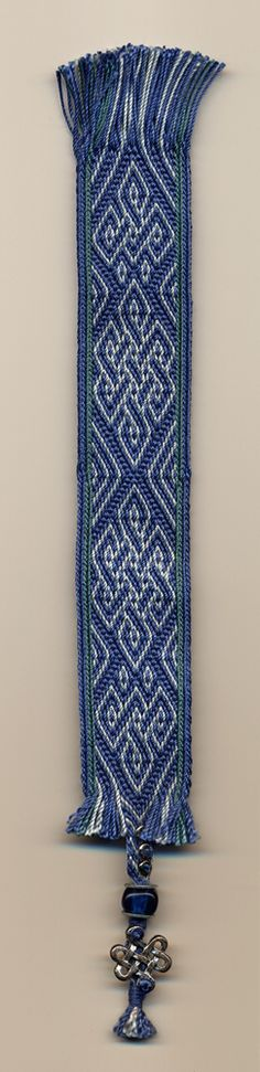 Bookmark in the missed hole structure. Silk yarns, decorated with beads.   Linda Malan