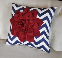 Ruby Red Dahlia on Navy Blue and White Zigzag Pillow