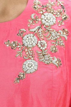Bright pink dabka embroidered flared kurta with dhoti pants available only at Pernia's Pop-Up Shop.