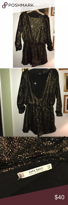 Zara sequin romper Zara gold sequin romper. Never used. In excellent condition. Long sleeve with open V-back and has pockets. Super cute! Size medium. Zara Dresses Backless