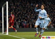 David Silva merayakan golnya saat melawan West Bromwich Albion.