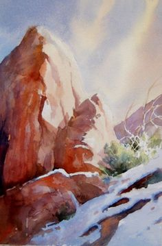 This painting has value. It uses light and dark shades of the same color to create visual depth. Instead of painting the rock straight on we can see the side where the light his it which makes it more interesting.