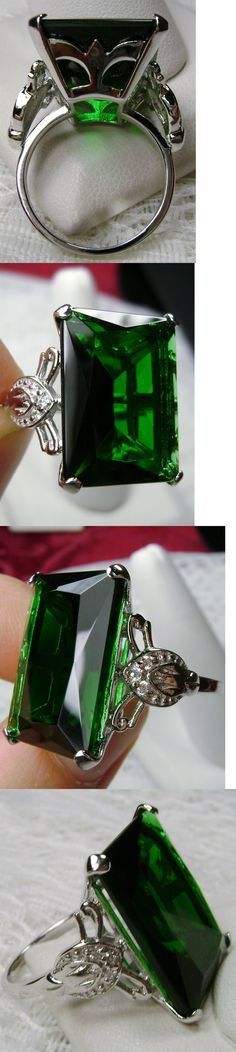 Rings 52603: 30Ct *Green Emerald* Sterling Silver Vintage Filigree Ring Size: {Made To Order} BUY IT NOW ONLY: $38.0