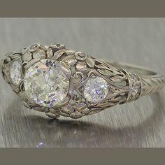$13130 1920s Antique Art Deco Platinum 1.70ct H SI Diamond Engagement Ring #Handmade #SolitairewithAccents