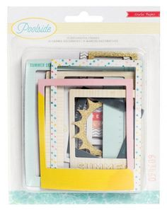 Zoxoro.com.au | American Crafts 15 Piece Crate Paper Poolside Frames Gold Glitter Accents