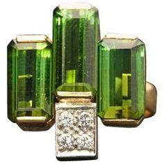 1979 Andrew Grima Tourmaline Diamond Gold Dress Ring