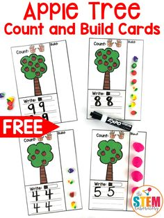 These FREE apple tree counting cards are perfect for the beginning of the school year! Students will love using all kinds of manipulatives to build numbers, work on fine motor skills AND practice number writing at the same time! Beginning Of Kindergarten, Kindergarten Units, Beginning Of The School Year, Apple Activities Kindergarten, Kindergarten Apples, Bilingual Kindergarten, September Activities, Children Activities, Fall Preschool