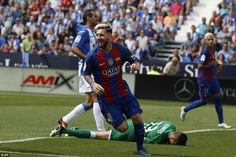 Forward Messi runs away to celebrate his goal against newly-promoted Leganes at the Estadio Municipal de Butarque