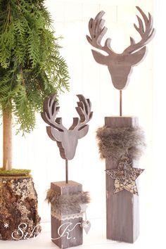 Weihnachtsdeko - ☆ Hirschkopf auf Sockel Höhe: 49 cm Shabbygrau ☆ - ein Designerstück von alsial bei DaWanda