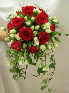 Wedding bouquet of red roses & white spray roses
