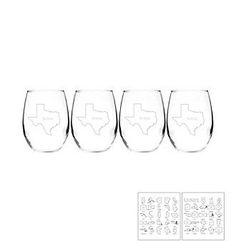 Cathy's Concepts Home State Set of 4 Stemless Wine Glasses