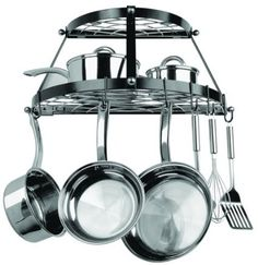 Half Round Black Wall Mounted Pot and Pan Rack. Also holds wire wisks and spatulas.
