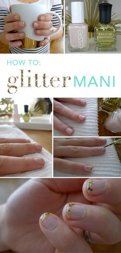 """Glitter nail   DIRECTIONS  Step 1: Wash hands and nails with soap and water to ensure polish sticks.  Step 2: Clip and file nails.  Step 3: Apply two coats of your favorite light pink/nude nail polish —Let dry 15-20 minutes.  Step 4: Lightly dab the glitter polish to the tips of your nails and gently move it around until it's in place and covering the tip of your nail.   Step 5: After the glitter layer of the manicure has dried, apply a top coat to seal. """"No Chips Ahead"""""""