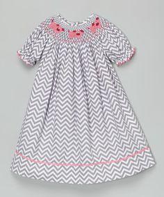 000612a37 Barefoot Children's Clothing Gray Pig Smocked Bishop Dress - Infant,  Toddler & Girls