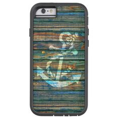 Cool Anchor Green Blue Rustic Wood Tough Xtreme iPhone 6 Case