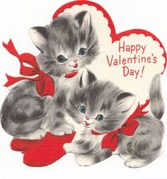 vintage two kitties valentine - Domestica - Valentine's day