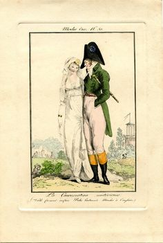 Lady and gentleman out for a walk. Modes et manières du jour-1808 - plate 50